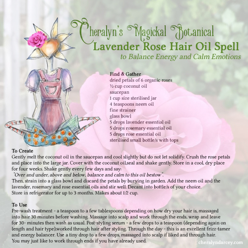 Cheralyn's lavender rose hair oil spell