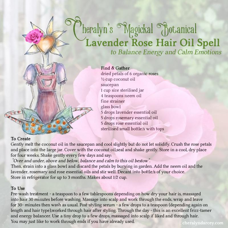 Cheralyn's lavender rose hair oil spell